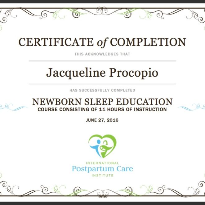 Certificate Newborn Sleep Education 2016